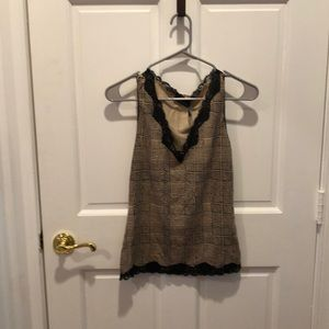 Limited plaid tank with lace trim